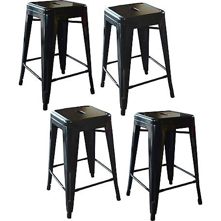 AmeriHome Loft Metal Bar Stool, Pack of 4