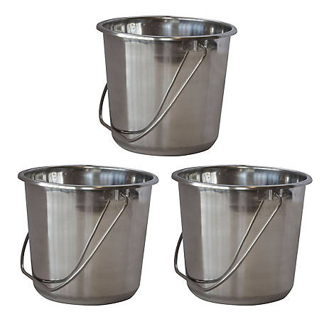 AmeriHome 3-Piece Stainless Steel Bucket Set