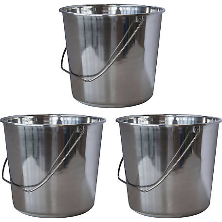 Amerihome 3 Piece Medium Stainless Steel Bucket Set Ssb237set At Tractor Supply Co
