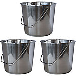 AmeriHome 3-Piece Medium Stainless Steel Bucket Set