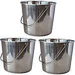 AmeriHome 3-Piece Large Stainless Steel Bucket Set