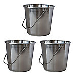AmeriHome 3-Piece Extra-Large Stainless Steel Bucket Set