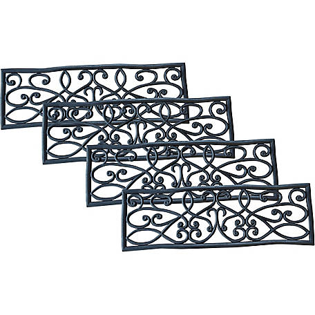 AmeriHome Rubber Scrollwork Stair Tread, Pack of 4