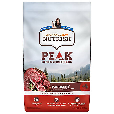 Rachael Ray Nutrish PEAK Open Range Recipe with Beef, Venison & Lamb Natural Grain-Free Dry Dog Food, 12 lb.