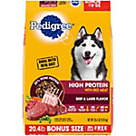 Pedigree High Protein Beef and Lamb Flavor Adult Dry Dog Food, 20.4 Pound Bonus Bag