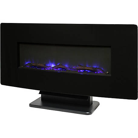 Muskoka 36 in. Curved Front Wall Mount Fireplace, Black Glass