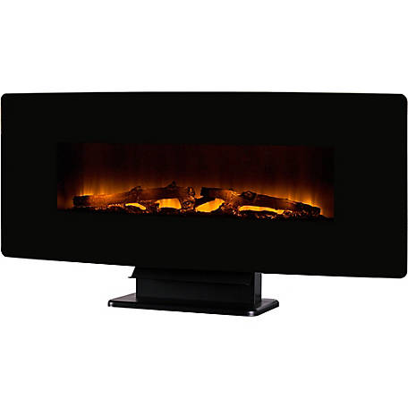 Muskoka 42 in. Curved Front Wall Mount Electric Fireplace, Black Glass