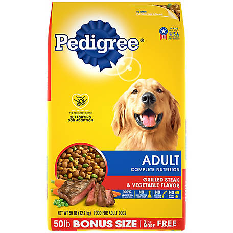 Pedigree Adult Complete Nutrition Grilled Steak & Vegetable Flavor Dry Dog Food, 50 lb. Bag