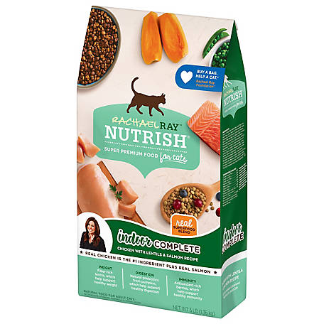 Rachael Ray Nutrish Indoor Complete Chicken with Lentils & Salmon Recipe Natural Dry Cat Food, 3 lb.