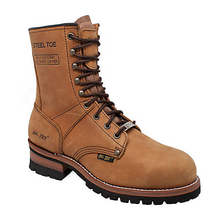 AdTec Men's 9 in. Brown Steel Toe Logger Boot