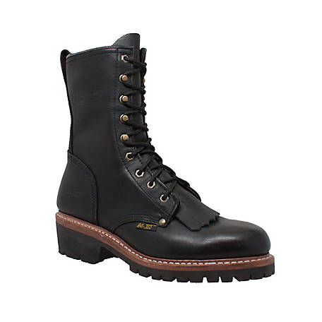 AdTec Men's 10 in. Black Fireman Logger Boot