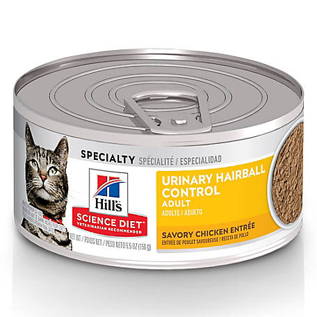 Hill's Science Diet Adult Urinary & Hairball Control Savory Chicken Entree Canned Cat Food, 5.5 oz.