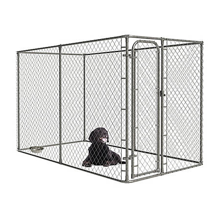 Pet Sentinel 6 x 5 x 10 Chain Link Boxed Kennel with Anchor, No Cover, 541945