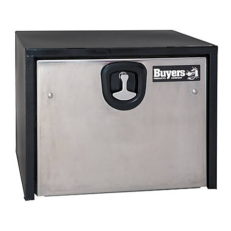 Buyers Products 18 in. x 18 in. x 24 in. Black Steel Truck Box with Stainless Steel Door