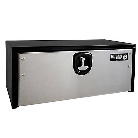 Buyers Products 18 in. x 18 in. x 36 in. Black Steel Truck Box with Stainless Steel Door