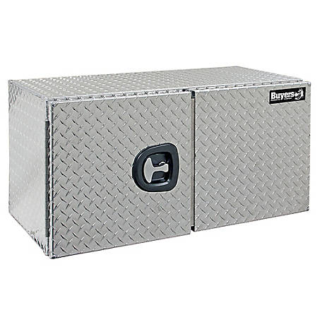 Buyers Products 18 in. x 18 in. x 36 in. Diamond Tread Aluminum Underbody Truck Box with Barn Door