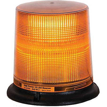 Buyers Products Amber 12 LED Beacon Light with Tall Lens 6.75 in. Diameter x 6.625 in. Tall, 8 Amber