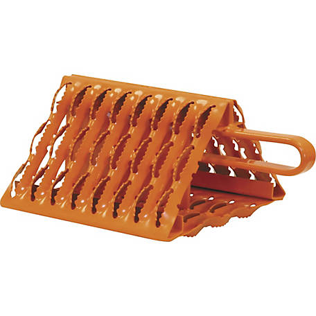 Buyers Products Orange Powder-Coated Galvanized Serrated Wheel Chock with Handle 9 in. x 10 in. x 6 in.