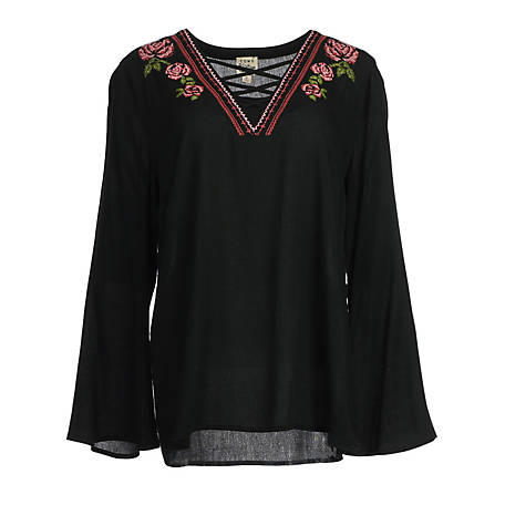 Como Vintage Women's Long Sleeve Flare Sleeve Embroidered Shirt