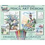 Dimensions Pencil Works Color By Number Kit, Beach Scene, Pack of 4