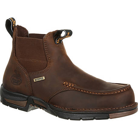 Georgia Boot Men's 5 in. Dark Brown Athens Waterproof Slip-On