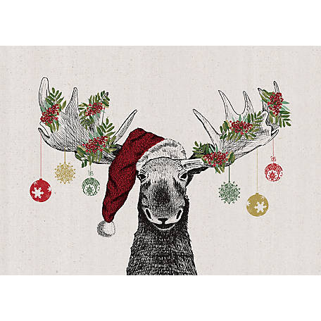 Designs Direct Christmas Moose 12 in. x 18 in. Canvas Wall Art