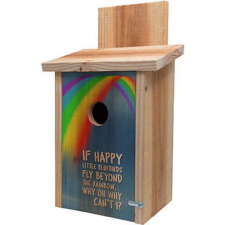 S&K Cedar Blue Bird House with Decorative Rainbow Design