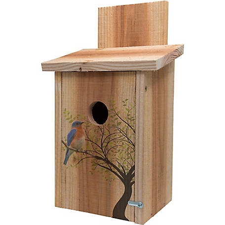 S&K Cedar Blue Bird House with Decorative Bird In Tree Design