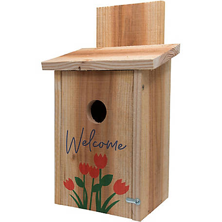 S&K Cedar Blue Bird House with Decorative Tulip Design