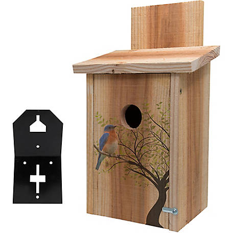 S&K Cedar Blue Bird House with Bird in Tree/T-Post Mount Combo
