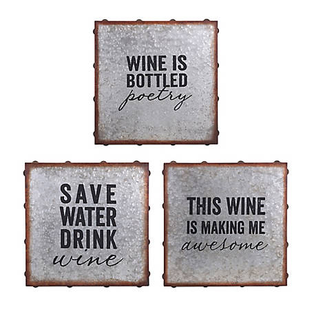 Maxwell Galvanized Wine Wall Decor, Pack of 3