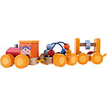 Hey! Play! Classic Wooden Toy, Interactive Learning Train Set with Bead Maze and Screw Block Train Cars