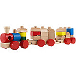 Hey! Play! Wooden Toy Stacking Learning Train Set with 20 Interchangeable Wooden Blocks