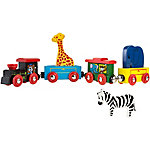 Hey! Play! Magnetic Train Toy Wooden Animal Learning Train Set with 4 Trains 3 Wooden Animals