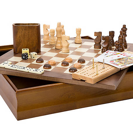 Hey! Play! 7-in-1 Classic Combo Game with Chess, Checkers, Cribbage and More