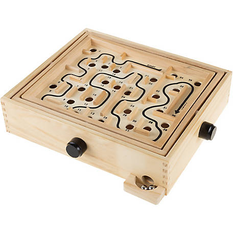 Hey! Play! Labyrinth Wooden Maze Game with 2 Steel Marbles Puzzle Game for Adults, Boys and Girls