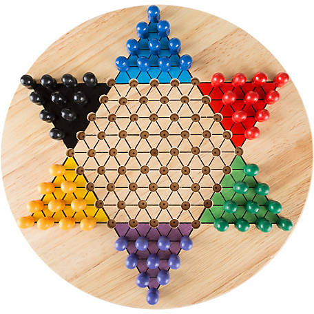 Hey! Play! Chinese Checkers Game Set with 11 in. Wooden Board and Traditional Pegs Game for Adults, Boys and Girls