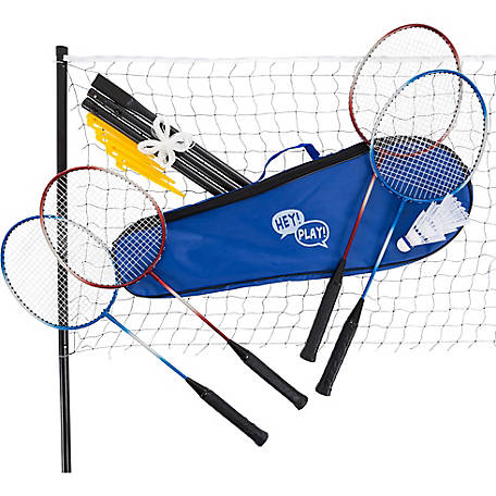 Hey! Play! Badminton Set Complete Outdoor Yard Game with 4 Racquets, Net with Poles, 3 Shuttlecocks and Carrying Case