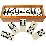 Hey! Play! Premium Set of 28 Double-Six Dominoes with Wood Case