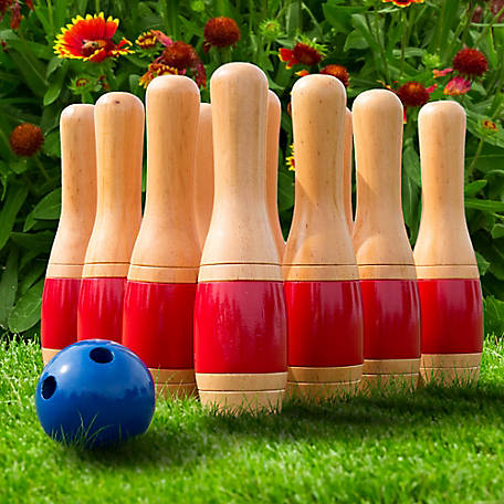 Hey! Play! 11 in. Wooden Lawn Bowling Set