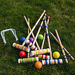 Hey! Play! Croquet Set Wooden Outdoor Deluxe Sports Set with Carrying Case