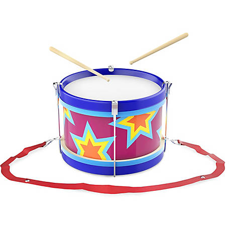 Hey! Play! Double-Sided Toy Marching Drum with Adjustable Strap and 2 Wooden Drum Sticks