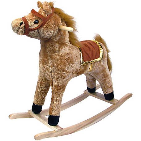 Happy Trails Plush Rocking Horse Wooden Rocker