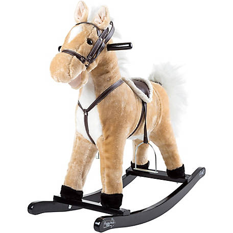 Happy Trails Plush Rocking Horse on Wooden Rockers with Sounds