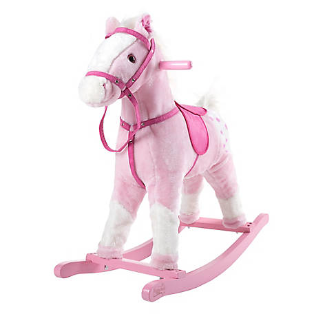 Happy Trails Rocking Horse Plush Animal on Wooden Rockers with Sounds, Saddle and Reins, Pink