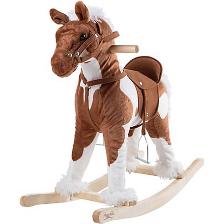 Happy Trails Rocking Horse Plush Animal on Wooden Rockers with Sounds, Stirrups, Saddle and Reins, Clydesdale