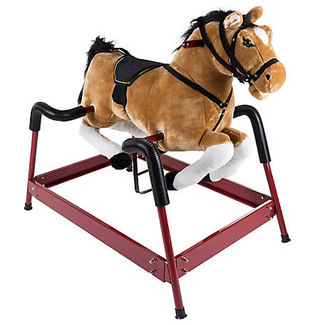 Happy Trails Plush Rocking Horse with Adjustable Foot Stirrups and Sounds