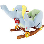 Happy Trails Plush Rocking Horse Elephant 2-in-1 Wooden Rockers and Wheels, Seat and Seat Belt and Sounds