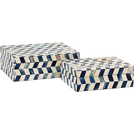 Essentials Marine Blue Bone Boxes, Set of 2