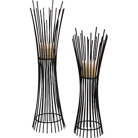 Metal Candleholder Duo, Set of 2